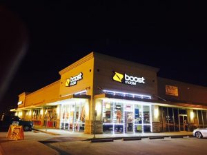 Custom storefront signage for Boost Mobile